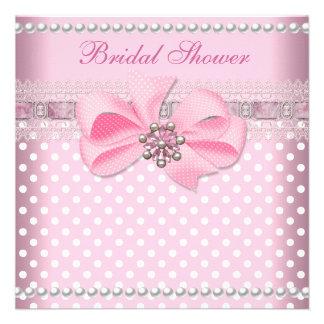 Brautparty-rosa Stellen-Perlen-Spitze-Hochzeit Personalisierte Ankündigungskarte