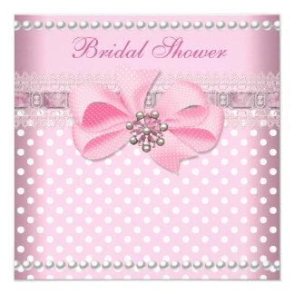 Brautparty-rosa Stellen-Perlen-Spitze-Hochzeit Quadratische 13,3 Cm Einladungskarte