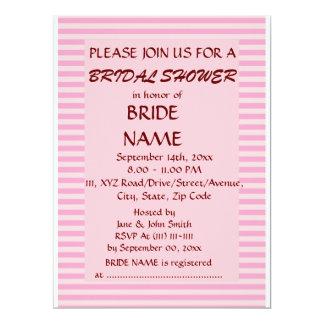 Brautparty - rosa Streifen, rosa Hintergrund 16,5 X 22,2 Cm Einladungskarte