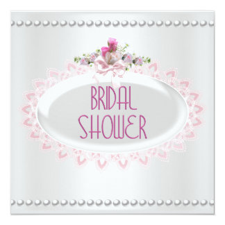 Brautparty-rosa weiße Perlen-Spitze-Hochzeit Personalisierte Ankündigungen