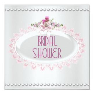 Brautparty-rosa weiße Perlen-Spitze-Hochzeit Quadratische 13,3 Cm Einladungskarte