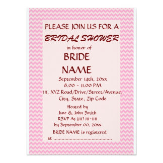 Brautparty - rosa Zickzack, rosa Hintergrund 16,5 X 22,2 Cm Einladungskarte