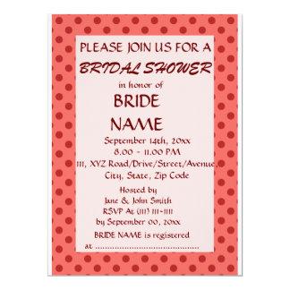 Brautparty - rote Polka-Punkte, rosa Hintergrund 16,5 X 22,2 Cm Einladungskarte