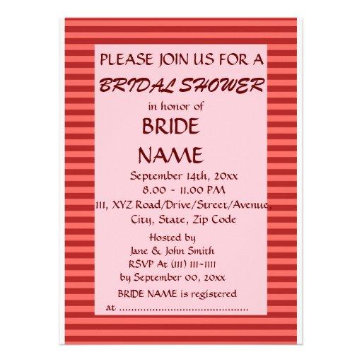 Brautparty - rote Streifen, rosa Hintergrund Individuelle Ankündigung