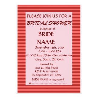 Brautparty - rote Streifen, rosa Hintergrund 16,5 X 22,2 Cm Einladungskarte