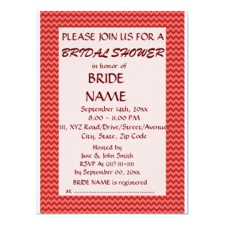 Brautparty - roter Zickzack, rosa Hintergrund 16,5 X 22,2 Cm Einladungskarte