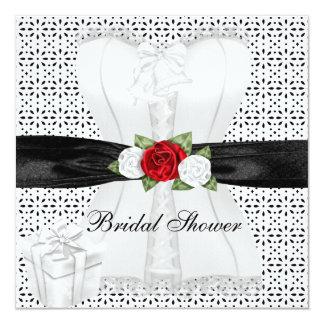 Brautparty-Schwarz-weiße Korsett-Rosen-Blume Karte