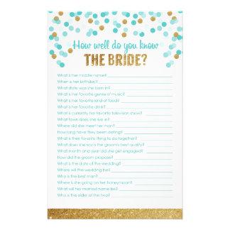 Brautparty-Spiel, wie gut Sie die Braut kennen? Briefpapier