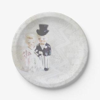 Brautparty-Teller-niedliche Paare und Spitze Pappteller