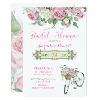 Brautparty-Vintage Fahrrad-Korb-Rosa-Rosen 12,7 X 17,8 Cm Einladungskarte