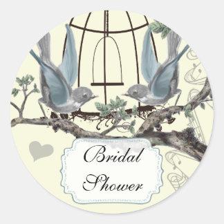 Brautparty-Vintages Drossel-Hochzeits-Siegel Runder Aufkleber