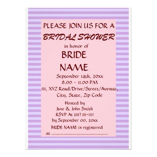 Brautparty - violette Streifen, rosa Hintergrund Personalisierte Ankündigung