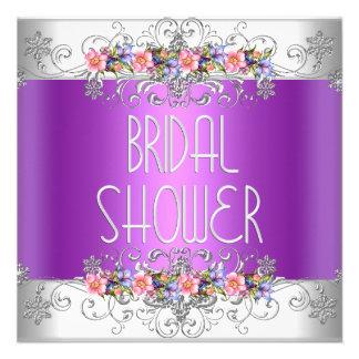 Brautparty-Wedding weiße rosa lila Blumen Einladung