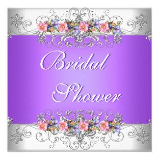 Brautparty-Wedding weiße rosa lila Blumen Individuelle Ankündigskarten