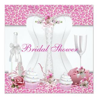 Brautparty-weiße rosa kleine Kuchen Champagne Individuelle Einladungskarten