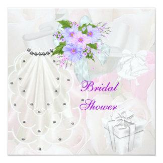 Brautparty-weiße Schleier-Flieder-Blume Quadratische 13,3 Cm Einladungskarte