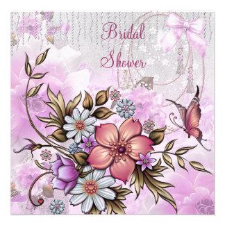 Brautparty-weißer rosa Blumen-Schmetterling Personalisierte Ankündigungskarte
