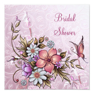 Brautparty-weißer rosa Blumen-Schmetterling Quadratische 13,3 Cm Einladungskarte