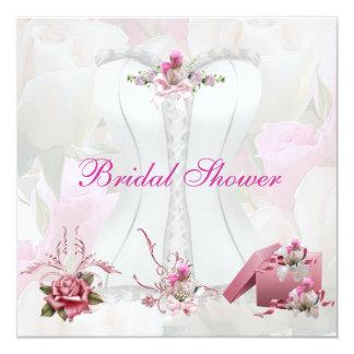 Brautparty-weißes rosa Korsett mit Blumen Einladungskarten