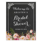 Brautparty-willkommenes Zeichen-Tafel-Rahmen-Blume Poster
