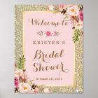 Brautparty-Zeichen-GoldGlitter erröten rosa Blumen Poster