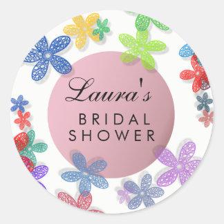 Brautpartyblumenwatercolor-Rosa lila Runder Aufkleber