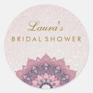 Brautpartymandala-Lotos-Blumen-Strudel Runder Aufkleber