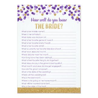 Brautpartytrivia-Spiel lila und Gold Karte