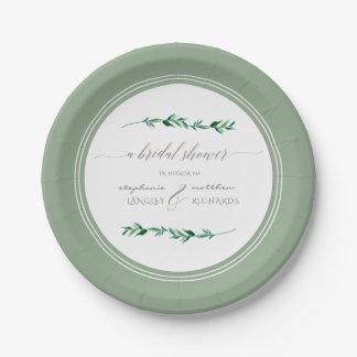 Brautpartywatercolor-einfaches Blatt-moderne Kunst Pappteller