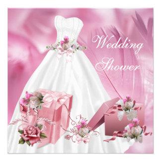 BrautPolterabend-hübsches weißes rosa Kleid Personalisierte Einladungskarten