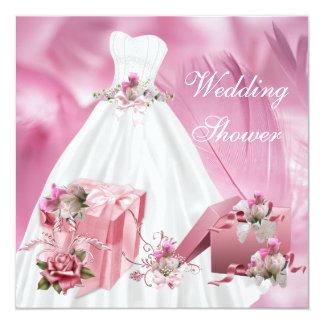 BrautPolterabend-hübsches weißes rosa Kleid Quadratische 13,3 Cm Einladungskarte