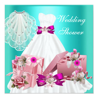 BrautPolterabend-pinkfarbenes Türkis-Rosa Individuelle Ankündigung