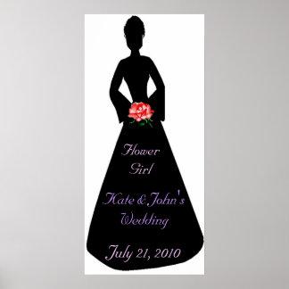 BrautSilhouette-Blumen-Mädchen Poster