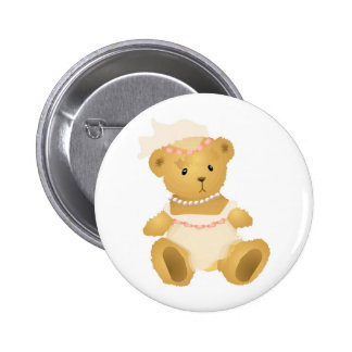 BrautTeddybär Runder Button 5,1 Cm