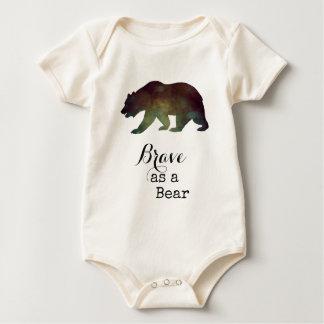 Brave als Bärn-Aquarell-Typografie Baby Strampler