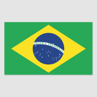 Brazil* Flaggen-Aufkleber Rechteckiger Aufkleber