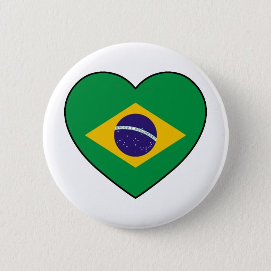 Brazil Heart Soccer Runder Button 5,7 Cm
