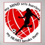 Brechen von Sperren-Dame Soccer Poster