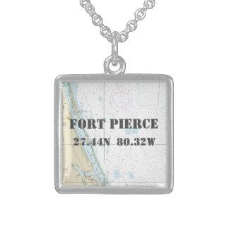 Breite-Länge Fort Pierce Florida nautisch Sterling Silberkette