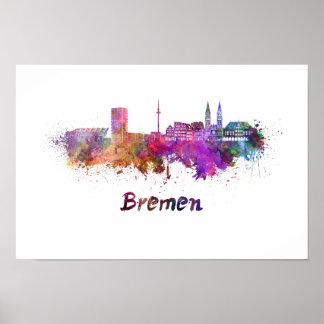 Bremen skyline im Watercolor Poster