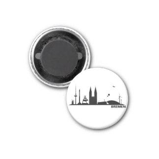 Bremen Skyline Kühlschrank Magnet Runder Magnet 2,5 Cm