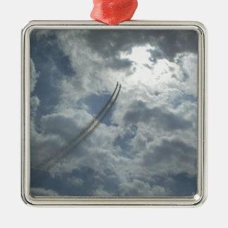 Bremsungs-Fliegen-Demonstration Quadratisches Silberfarbenes Ornament