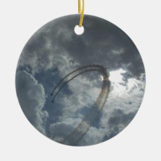 Bremsungs-Fliegen-Demonstration Rundes Keramik Ornament