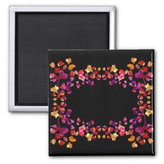 Brennende Blumenblatt-Namensrahmen Quadratischer Magnet