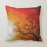 Brennende Sonnenuntergang-u. Baum-Natur-Kunst Kissen