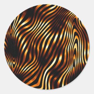 Brennende Tiger-Streifen Runder Aufkleber