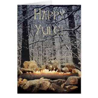Brennende Weihnachten-Klotz-Gruß-Karte Grußkarte