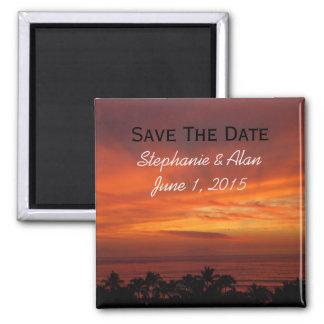 Brennender hawaiischer Sonnenuntergang-Save the Da Quadratischer Magnet