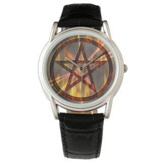 Brennender Pentagram Armbanduhr
