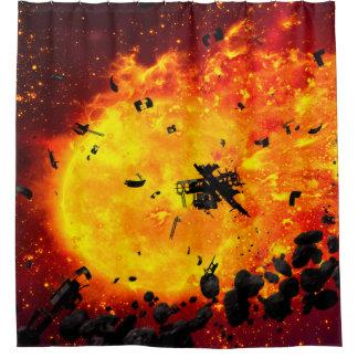 Brennender Planet Duschvorhang